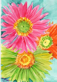 Hot Pink Lime Green and Orange Gerbera Daisies by SharonFosterArt