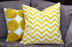 sunshine yellow and white chevron pillow by candykirbydesigns