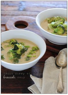 Green Curry and Broccoli Soup. I usually dissolve green curry paste in water and add noodles and bok choy. I do love broccoli, though, so this recipe will likely get mileage in my kitchen. Source: Recipe and imgae by jules:stonesoup, via Flickr