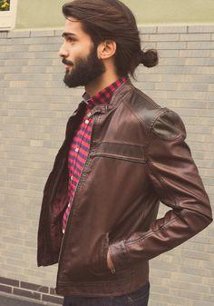 Shirt striped fashion men streetstyle leather jacket hair beard