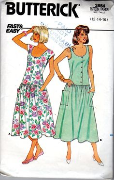 Vintage Butterick 3864  Misses 80s Long Dress  Hard by scarlettess