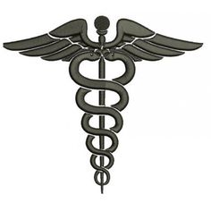 Medical Caduceus Embroidery- Instant Download Machine Embroidery Design 4x4 , 5x7, and 6x10 hoops, Nurses, Doctors, LPn