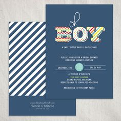 Oh boy! Baby shower invitation featuring chevron, polka dot, and stripe patterns. Dary navy blue background with pops of vibrant colors!