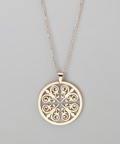 Rose Gold Round Pendant Necklace by Treasure Hunt: Rose Gold Jewelry (zulily.com)