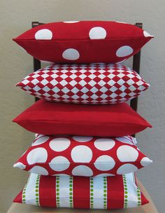 Red and White Large Polka Dot Throw Pillow Cover