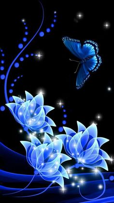 Digital Art ~ Flowers and Butterfly in Black and Blue