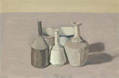 'Natura Morta', oil on canvas painting by Giorgio Morandi, 1956 Italian Painters, Italian Artist, Ceramic Painting, Painting & Drawing, Galerie Des Offices, Simple Subject, Still Life Artists, Still Life Drawing, Magic Realism