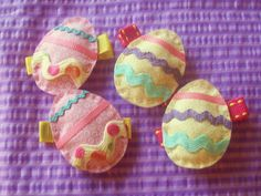 Easter Eggs Hair Clips (yellow). $7.00, via Etsy.