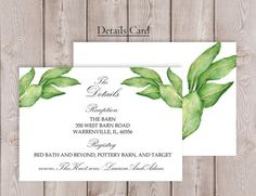 Botanical Wedding Detail Card Printable Garden by PucciPaperie