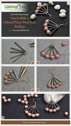 #Beebeecraft #PearlsEarrings Design-–-How-to-Make-Simple-Fan-Shaped-Pearl-Bead-Earrings-within-2-Steps