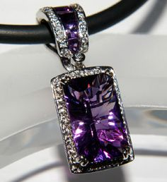 "Bellarri 18K White Gold Diamond & Amethyst Pendant featuring Bellarri's exclusive ""Mystique-Cut""."