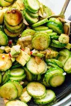 Gaby's cucumber avocado salad recipe is the best cucumber salad I've ever had! It's made with crisp cucumber and creamy avocado tossed in a simple balsamic vinegar dressing. Summer Side Dishes, Healthy Side Dishes, Vegetarian Recipes, Cooking Recipes, Healthy Recipes, Healthy Lunches, Cooking Pork, Grilling Recipes, Balsamic Vinegar Dressing