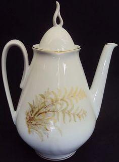 (1) Bule De Chá Decorado Com Folhas Claras Em Porcelana Real - R$ 169,00 em Mercado Livre