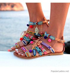 Colorful sandals boho style