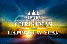 Qdiz Stock Photos | Merry Christmas and New Year greeting card,  #background #blur #blurred #card #celebration #Christmas #eve #glow #greeting #happy #holiday #Merry #new #postcard #retro #road #season #Sun #sundown #Sunset #traditional #vintage #winter #xmas #year
