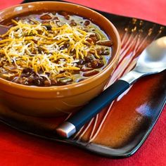 Recipe for Crockpot Pumpkin Chili with Ground Beef, Black Beans, and Kidney Beans; this is great for a fall-themed or Halloween party. [from Kalyn's Kitchen] #LowGlycemicRecipe  #SlowCookerRecipe