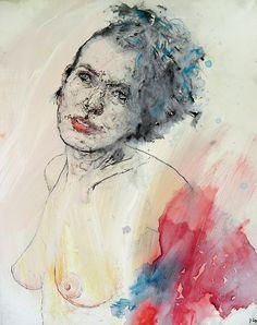 Jakub Czyż, Portret kobiety, ekolina, akryl, cienkopis, papier, 50 x 40 cm