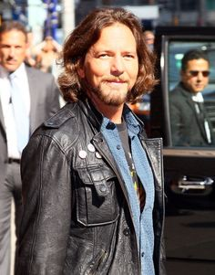 Musician Eddie Vedder departs 'Late Show With David Letterman' at the Ed Sullivan Theater on June 20, 2011 in New York City.