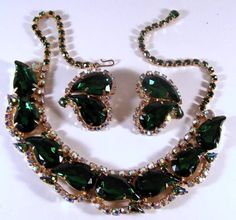 D&E Juliana Aurora Borealis & Green Teardrop Rhinestone Necklace & Earrings in Jewelry & Watches | eBay