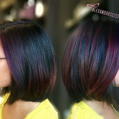 ⚫️🌈 Black Opal Balayage 🌈⚫️ This one was done similarly to my last oil slick balayage, but with full-vibrancy vivids and some hints of warmer tones. We also used the cuticle sealer to lock in our gorgeous color! Oil Slick Hair Color, Hot Hair Colors, Good Hair Day, Hair Painting, Rainbow Hair, Brunette Hair, Hair Today, Hair Highlights, Dyed Hair