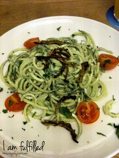 raw zucchini pasta at cafe gratitude, munich