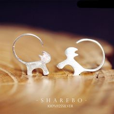 925 Pure Plain Silver Cat Stud Earrings