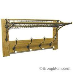 Railway Rack & Hook Board Brass on Oak or Pine