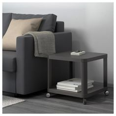 IKEA - TINGBY, Side table on casters, gray, Separate shelf for magazines, etc. helps you keep your things organized and the table top clear. The casters make it easy to move the table if needed. Ikea Living Room Furniture, Living Room Shelves, Table Furniture, Home Furniture, Living Rooms, Range Magazine, Ikea Side Table, Side Tables, Wood Bedroom
