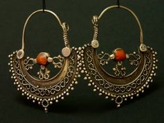 Hazara old silver and coral earrings