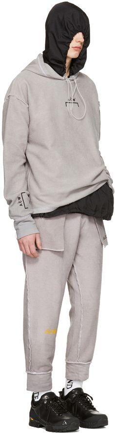 A-Cold-Wall* - Reversible Grey 'The Meeting of Textures' Seamline Lounge Pants ; Reversible Grey Oversized Logo Hoodie