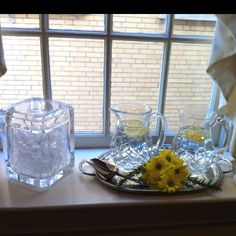 Besides the food table, we also had water on the window sill for anyone who preferred it.