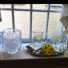 food tables, window sill