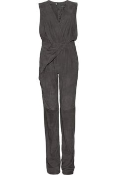 Halston Wrap-effect suede jumpsuit - 70% Off Now at THE OUTNET