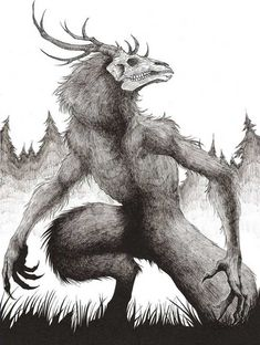 Draw Creatures Wendigo by HBheavenlyboy - Dark Creatures, Mythical Creatures Art, Mythological Creatures, Fantasy Creatures, Creepy Drawings, Dark Art Drawings, Demon Drawings, Wolf Drawings, Monster Concept Art