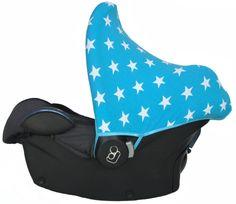 Maxi Cosi zonnekap Ster Aqua, blue, boys, blauw, white stars, stars, sterren, star baby, sunhood, canopy, sun hood, car seat cover, carseat, bekleding, hoes, hoesje, zonkapje, zonnehoes, kap autostoel DIY pimpen