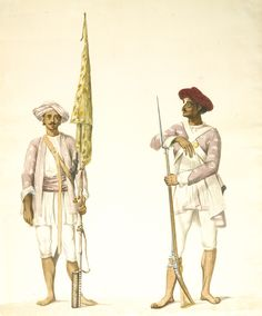 Two studies of soldiers in Tipu Sultan's army, attributable to Robert Home Madras, circa Mughal Miniature Paintings, Shivaji Maharaj Hd Wallpaper, Indian Paintings, Vintage Paintings, Peter The Great, Indian Army, Costume, Islamic Art, Modern Art