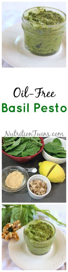 Oil Free Basil Pesto | Only 20 calories / tablespoon | Spread on bread, use in pasta, easy to make | Vegan, great way to get veggies | For MORE RECIPES, fitness & nutrition tips please SIGN UP for our FREE NEWSLETTER www.NutritionTwins.com