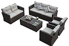 Carabelle AMZ3725DBBG 5 Piece Wicker Conversation Set with Storage & Cushions, Dark Brown/Beige