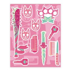 Feminist Fighter Arsenal  - Fight like a girl against the patriarchy! Choose your weapons, girls, because you're about to make misogyny weep with these cute feminist stickers! Perfect for any feminist, girl gang, fem fighter looking to express their radical ideals on their notebooks, laptops, and books!