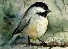 Chickadee aceo Painting