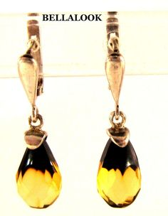 VINTAGE RUSSIAN USSR MARKED NFPA 925 STERLING SILVER FACETED AMBER EARRINGS #NFPA