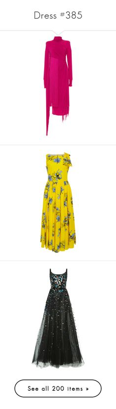 """""""Dress #385"""" by bliznec-anna ❤ liked on Polyvore featuring dresses, pink, emilio pucci, pink fringe dress, long sleeve dress, long sleeve drape dress, fringe dress, yellow, yellow cotton dress and fitted tops"""