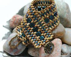 Czechmate Tile Superduo Cuff Bracelet Embellished with Toho Seed Beads Czechmate Tile Beads ~ 6mm Indigo Orchid SuperDuo Seed Beads ~ 2/5mm