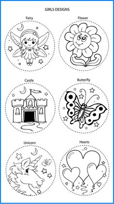 Girl Mixed Designs - Colour In Yourself Badges Spoon Craft, Pooh Bear, Xmas Crafts, Chalkboards, Badges, Prints, Templates, Color, Design