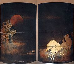 Case (Inrô) with Design of Two Puppies Playing with a Bamboo Branch (obverse); Snow, Pine and Red Sun (reverse) | 19th–20th century | Japan | The Metropolitan Museum of Art, New York | Bequest of Hope Skillman Schary, 1981 | 1982.244.9 #dogs