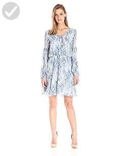 Betsey Johnson Women's Chiffon New Boho Dress, Ivory/Blue, 8 - All about women (*Amazon Partner-Link)