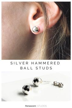Classic and elegant, that's how I would describe these ones ball studs. The hammered facets catch the light beautifully, adding a little sparkle to your style. These are light and comfortable and can be easily dressed up or dressed down. #everydayearrings #sphereearrings #ballearrings #postearrings #studearrings #hammeredballearrings #ballstuds #renascentstudios #handmade #simpleearrings #elegantearrings #minimalistearrings #minimalstyle #etsyshop #newjewelry #simplejewelry #supporthandmade Simple Earrings, Simple Jewelry, Stud Earrings, Diamond Earrings, Minimalist Earrings, Meditation Rings, Beautiful Lines, Hammered Silver, Birthday Gifts For Her
