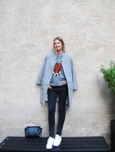 This foxy jumper from Peter Jensen has kept me warm all day!    Carin Wester coat and Peter Jensen knit from B56, Won Hundred jeans, Reebok's and bag from Zara