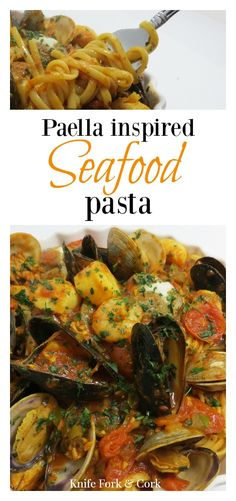 Paella inspired seafood pasta is loaded with chicken, chirizo sausage, shrimp, mussels, clams, scallops, and spicy red tomato sauce. Serve with your favorite pasta like spaghetti, linguine, or penne. Surprise your spouse with this sensual and rustic dinne