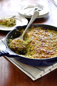 Julia Child's Tian de Courgettes au Riz. Like a cross between a gratin and risotto. So creamy, yet only 250 calories for a main size serving